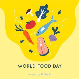 フラットなデザインの魚と世界の食べ物の日