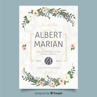 Плоский дизайн шаблона свадебного приглашения