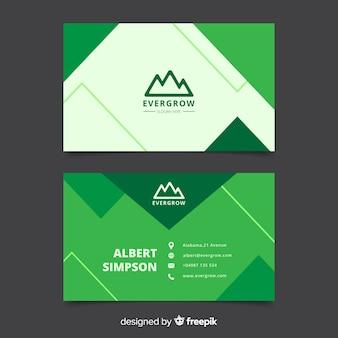 Абстрактный геометрический зеленый шаблон визитной карточки