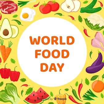 トマトとフラットなデザインの世界の食べ物の日