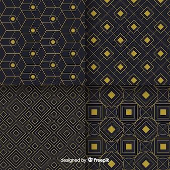 幾何学的な豪華な黒と金色のパターンコレクション