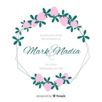 かわいいピンクの花のフレームの結婚式の招待状