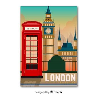 ロンドンテンプレートのレトロなプロモーションポスター