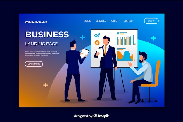 イラスト付きの男性のビジネスランディングページ