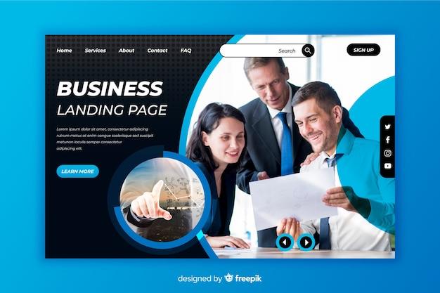 写真付きのモダンなビジネスのランディングページ