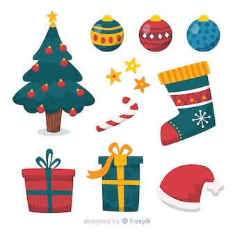 Плоский дизайн рождественской коллекции элементов