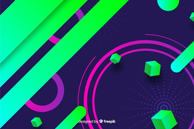 Красочный градиент геометрических фигур фон