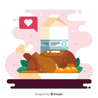 チキンとフラットなデザインの世界の食べ物の日