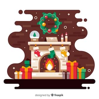 Плоский дизайн новогоднего фона