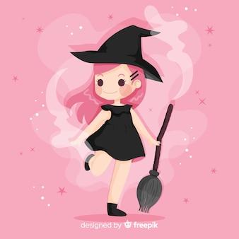 Милый хэллоуин ведьмы плоский дизайн