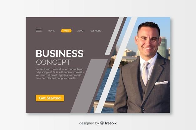 写真とビジネスコンセプトのランディングページ