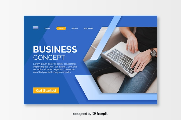 Бизнес-концепция целевой страницы с изображением