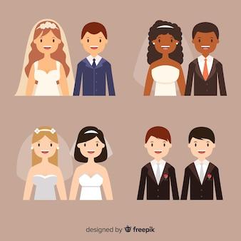 結婚式のカップルコレクションのフラットなデザイン