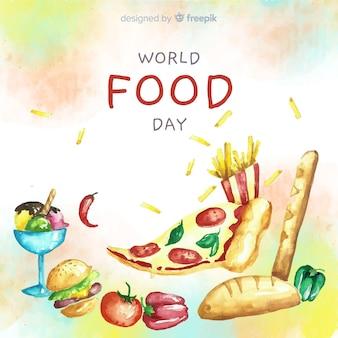 ピザのスライスと水彩の世界食の日