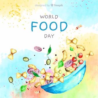 ボウルと水彩の世界食の日