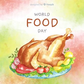 鶏の水彩デザインの世界食糧日