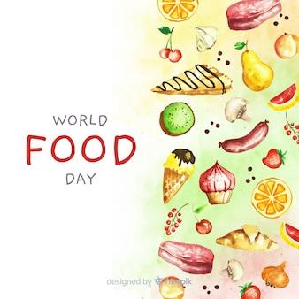 食物と一緒に水彩の世界食の日