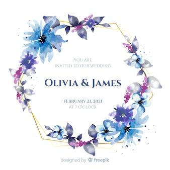 Синяя акварель цветочная рамка свадебное приглашение