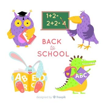 Сборник мультяшных животных обратно в школу
