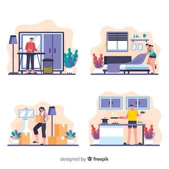 フラットなデザインの家事漫画コレクション