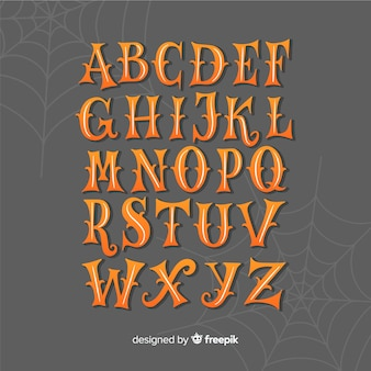 クモの巣とビンテージハロウィーンアルファベット