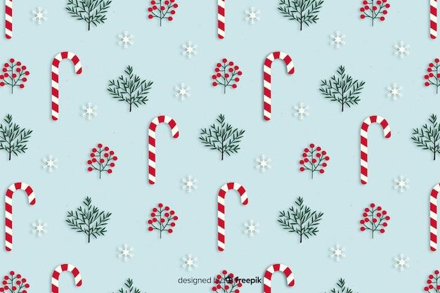 フラットなデザインのクリスマスキャンディー杖背景