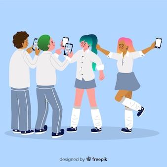Иллюстрация молодых людей, занимающих смартфоны