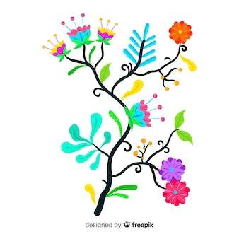 装飾的なフラットデザインの芸術的なカラフルな花の枝