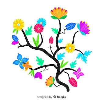 フラットなデザインの花のカラフルな花の枝