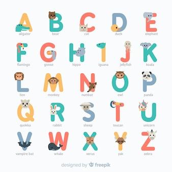 フラットなデザインのカラフルな動物のアルファベット