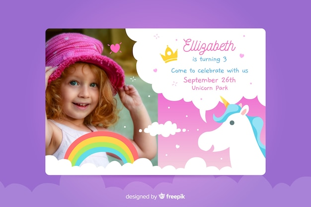 写真付きの子供の誕生日の招待状