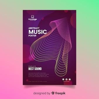 波状の抽象的な音楽ポスターテンプレート