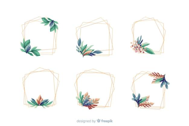 水彩の結婚式フレームロゴのコレクション