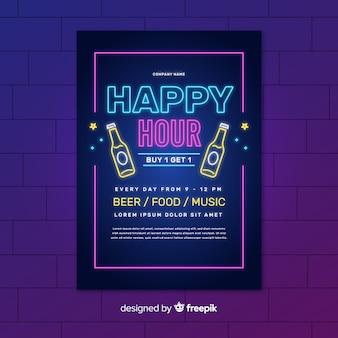 Плакат с неоновыми огнями и счастливыми часами с бутылками пива