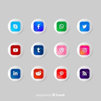 ソーシャルメディアのアイコンボタンのロゴのコレクション