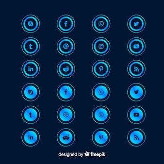 Круглая форма градиентной коллекции логотипов в социальных сетях