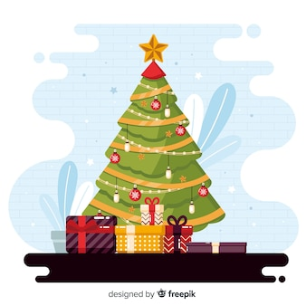 Плоский новогодний фон с вечнозеленым деревом