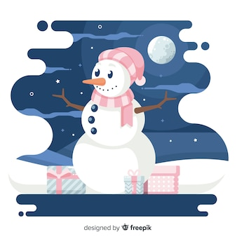 フラットクリスマス背景と夜の雪だるま