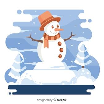 帽子とスカーフのクリスマス背景とスマイリー雪だるま