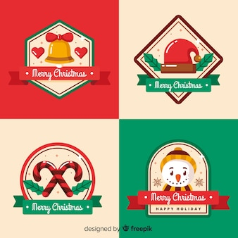 ラベルとバッジのコレクションのクリスマス装飾