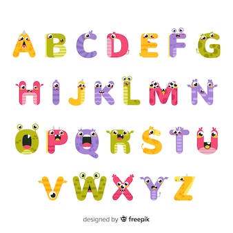 牙と怖い目アルファベットのハロウィーンモンスター