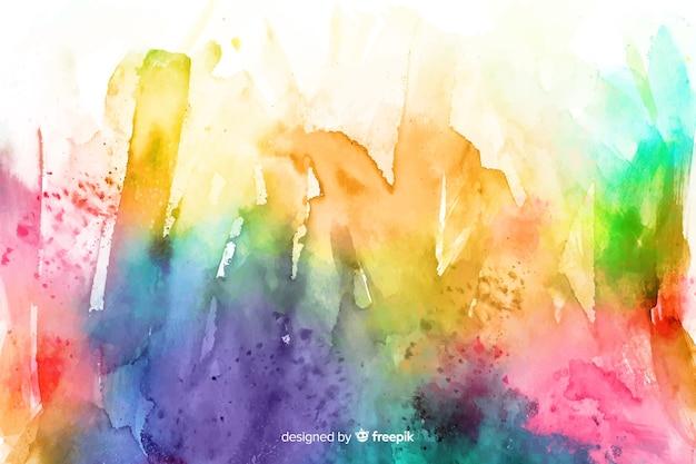 抽象的な手描きのレインボーラインの背景