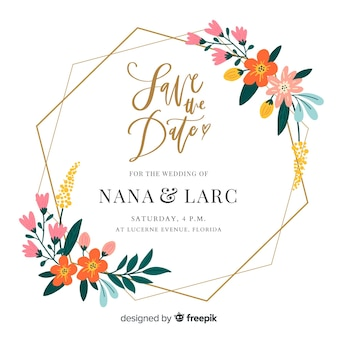 Плоский дизайн цветочной рамки свадебного приглашения