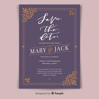 Шаблон приглашения на свадьбу в стиле ретро