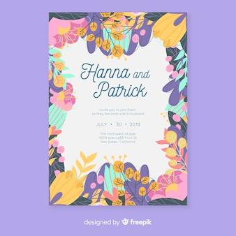 Красочный цветочный шаблон свадебного приглашения в плоском дизайне