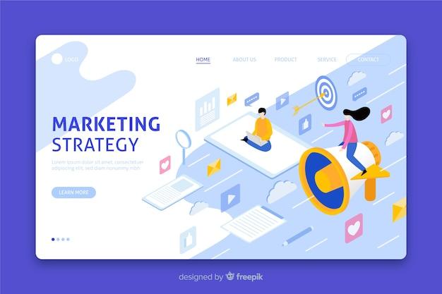 Целевая страница изометрической маркетинговой стратегии