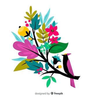 鳥とフラットなデザインのカラフルな花の枝
