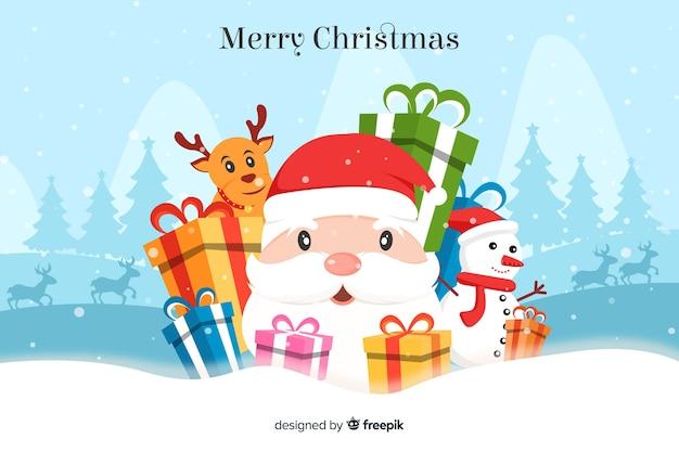 Плоский новогодний фон с санта-клаусом и подарками