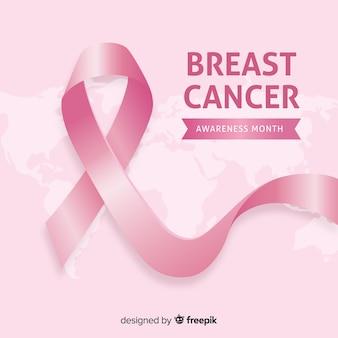 現実的なデザインのリボンによる乳がんの認識