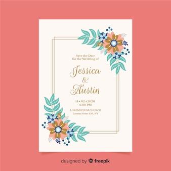 花の結婚式の招待状のテンプレートのフラットなデザイン